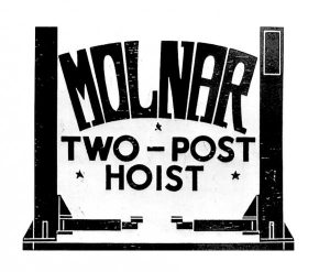 Molnar first 2 post hoist patented